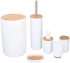 Alpina bad- und Toilettengarnitur Bambus/Stahl weiß 6-teilig