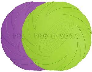 Hundefrisbee, 2 Stück 18cm Hunde-Frisbee aus Natürlichem Kautschuk für Land und Wasser (Grün + Lila)