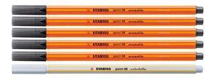 Fineliner mit löschbarer Tinte - STABILO point 88 erasable Schwarz 5 Stifte + 1 Tintenlöscher