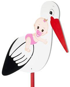BRUBAKER Großer Storch aus Holz mit Baby Rosa - Klapperstorch zum Stecken für Innen und Außen - Geburt Babystorch für Mädchen - Geburtsgeschenk 100 cm groß, beidseitig bedruckt