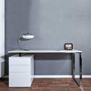cagü: Exklusiver Design Schreibtisch [NEWCASTLE] Weiß Hochglanz inkl. Bürocontainer mit 3 Schubladen 160cm x 70cm