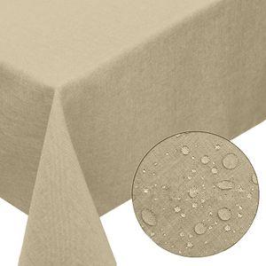 Melody® Premium Tischdecke Leinen-Optik abwaschbar mit Fleckschutz 135x180cm oval sand