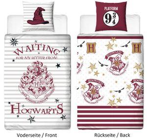 Harry Potter Wende Bettwäsche Set 135x200 80x80cm 100% Baumwolle Linon Stamp