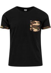 Urban Classics T-Shirt Camo Contrast Pocket Tee Wood Camouflage-XL
