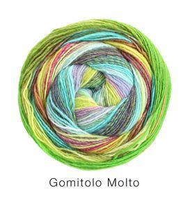 Lana Grossa - Gomitolo Molto - Fb. 613 mint/weißgrün/rost/ocker/vanille/zitrusgelb/schwarzbraun/haselnuss/flieder 200 g