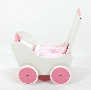 Hochwertiger Holz Puppenwagen / Lauflernwagen inkl. Bettset, Farbe:Schneewittchen Rosa/Weiß
