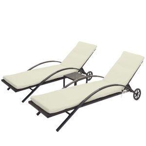 2x Sonnenliege MCW-E27, Relaxliege Gartenliege, Poly-Rattan  braun, Kissen creme-beige