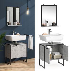 Vicco Loft Badmöbel Set Fyrk Beton Badspiegel mit Ablage Waschtischunterschrank