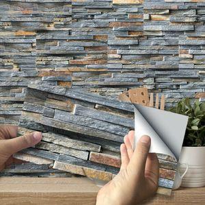 45stk Selbstklebende Mosaik 3D Fliesen Matten zur Wandgestaltung Deko Veredelung