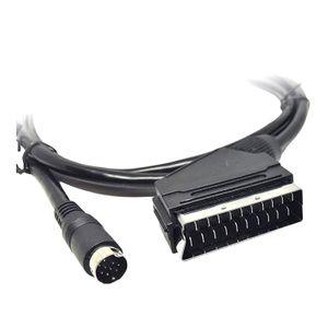 XORO AV3 Adapterkabel SCART-Mini DIN 1.5m für HRT8772/HRK7672 TWIN und HDD schwarz, Farbe:Schwarz