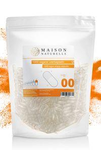 """MAISON NATURELLE® Vegane Leerkapseln Gr. """"00"""" (1000 Stück) – leere Kapseln zum Befüllen - aus HPMC hergestellt aus Kieferfaser - Non-GMO, Project V-Label, Kosher und Halal ."""