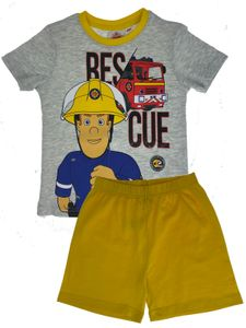 Feuerwehrmann Sam - Jungen Shorty Set - T-Shirt und Hose - Schlafanzug - Fireman Sam Motiv 2020 - Grau/Gelb, Größe:122/128