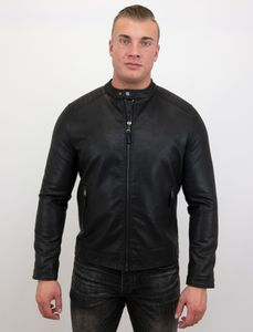 Biker Jacke - Kunstlederjacke - Schwarz - M