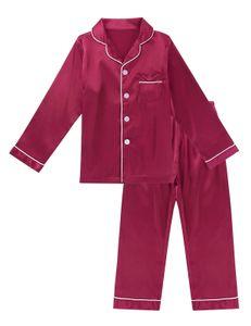 IEFIEL Jungen Mädchen Schlafanzug Satin Pyjamas Set Langarm Nachtwäsche Sleepwear,Burgundy,Gr.152-164