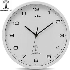 Monzana Wanduhr Funk Automatische Zeitumstellung Geräuscharm Quarzuhrwerk Analog 31 cm Indoor Funkuhr Uhr Modern Weiß