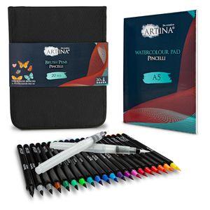 Artina Pinselstifte Set 20 Stifte mit 2 Wassertankpinsel A5 Aquarellblock und Tasche Pincelli