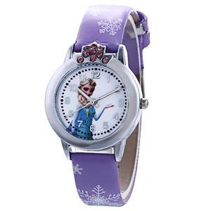 1x Kinder Cartoon Armbanduhr Frozen Elsa & Anna Watch Band Elsa Anna Children Party Birthday Gift Lila