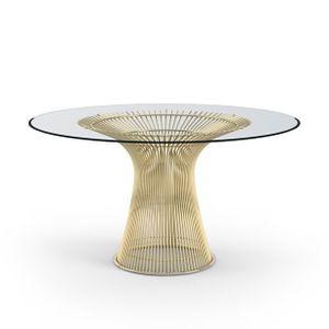 esstisch Wire Tisch diameter 135cm gold, Sockel aus Edelstahl. Platte aus gehärtetem Glas., Durchmesser: 135 cm x H: 74 cm