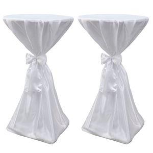 2 x Tischhusse Stehtischhusse Tisch-Überzug  weiß 70 cm