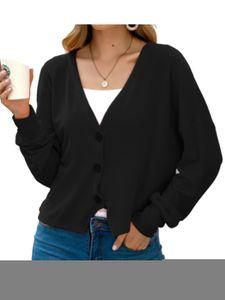 Damen Frauen Cable Knit Cardigan Button Langarm Grandad Plus Größen,Farbe: Schwarz,Größe:M