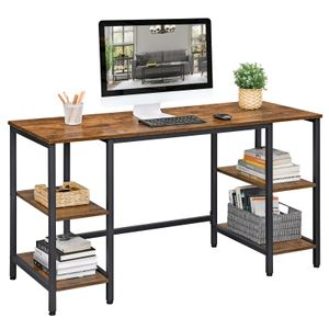 VASAGLE Schreibtisch mit 4 Ablagen | Computertisch Bürotisch große Tischoberfläche Industrie-Design vintagebraun-schwarz LWD54X