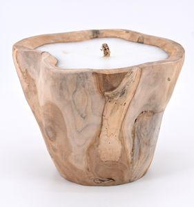 Teak Holz Natur Kerze Wurzel Teakschale Holzschale Schalenkerze Deko Windlicht