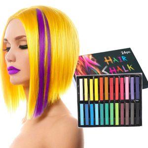 Haarkreide, Haarfärbungen, 24 Farben Temporäre Haarfarbe, buntes professionelles Wachs - Mehrere Farboptionen - für Karneval, Party, Weihnachten, Halloween-Geburtstag