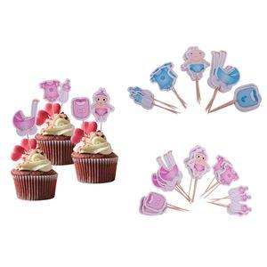 40 Pack Rosa Und Blau Baby Dusche Cupcake Topper Picks, Kleidung Kleid Flasche Cake Topper, Jungen Mädchen Geburtstagsfeiern Zugunsten Dekoration Kit