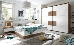 Schlafzimmer Komplett Set 4-tlg. CAPRI Bett 180 Kleiderschrank weiß Wildeiche