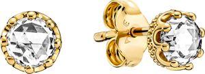 Pandora Ohrstecker 268311C01 Sparkling Crown Studs 14 Karat vergoldetes Metall Zirkonia