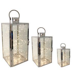 3er Set Edelstahl-Laternen 30/40/53cm + 3 x Gratis LED Tropfen Lichterkette