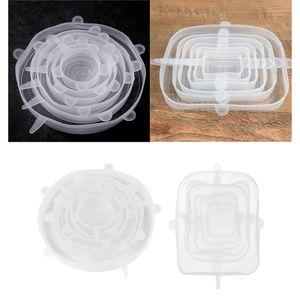 2Set Reusable Silikon Stretch Deckel  Schüssel Dichtung Abdeckung Klar Modern Silikon-Stretchdeckel 14,5 x 11 x 11 cm