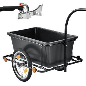 Juskys Fahrradanhänger 90 Liter - Lastenanhänger mit Kupplung & Deichsel – Anhänger für Fahrrad 40 kg Zuladung – Transportanhänger mit Reflektoren