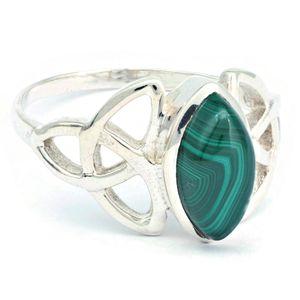 Malachit Ring 925 Silber Sterlingsilber Damenring grün (MRI 176-10),  Ringgröße:54 mm / Ø 17.2 mm