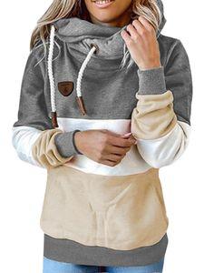 Langer Pullover mit langen Ärmeln und Kapuzenpullover für Damen,Farbe: Grau,Größe:L