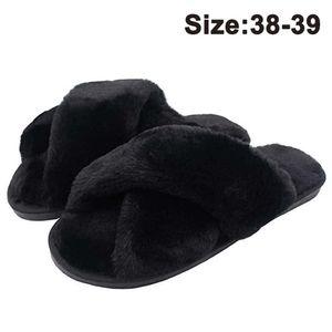 Dame Lammfell Hausschuhe Flauschig Fellhausschuhe für ganze Jahreszeit Fluffy Plüsch Schlappen Indoor/Outdoor Anti-Rutsch Pantoffeln