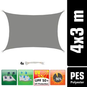 UPF50+ UV Sonnensegel 3x4 Polyester Rechteck Wasserabweisend Garten Balkon Grau