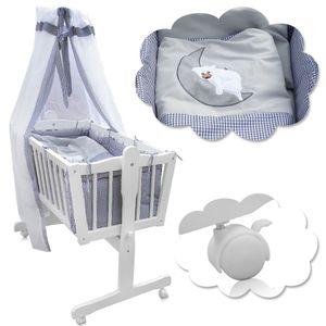 Baby Wiege Kinder Himmel Bett Stubenwagen Beistellbett + 9 tlg. Zubehör weiß/grau