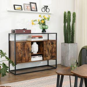 VASAGLE Kommode mit Glasoberfläche und offenen Fächern Beistellschrank Küchenschrank  Hartglas vintagebraun-schwarz LSC014B01