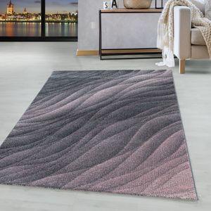 Kurzflor Teppich Rosa Grau Muster Modern Design Wellen Linien Wohnteppich Weich, Farbe:Pink, Grösse:160x230 cm