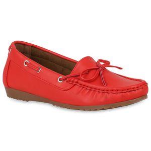 Mytrendshoe Damen Mokassins Basic Slippers Schuhe Schleifen Flats 822513, Farbe: Rot, Größe: 38