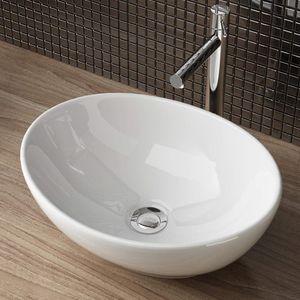 Aufsatzwaschschale Aufsatzwaschbecken Keramik Waschbecken Waschschale  Waschtisch Gäste Bad 41x33x14 cm WS99