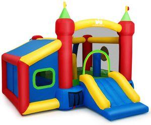 GOPLUS Hüpfburg Aufblasbar, Springburg Bunt, Hüpfschloss mit Rutsche, Spielburg für Kinder, 380 x 305 x 215cm