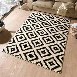 Designer Velours Teppich Raute Schwarz Creme | 102332, Größe:120x170 cm