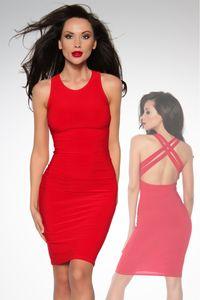 Ärmellos Cocktail-Kleid stretch mit Überkreuz-Rücken-Trägern, Farbe: Rot, Größe: S