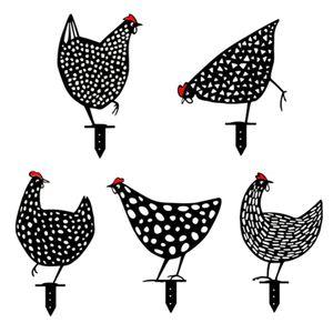 5 Stücke Gartenfigur Acryl Huhn Deko Handarbeit Gartendeko Kreative Gartenanzeige Ostern Hühnerfamilie Simulation Kleine Ornamente Gartendekoration