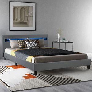 Merax Polsterbett LED Bett Lattenrost 140 x 200cm mit LED Beleuchtung, Betten mit Kunstleder Bezug und Holz Gestell, Jugendbett Doppelbett Bett, Grau