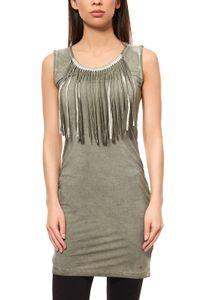 AjC Fransenkleid Jerseykleid Mini Grün, Größe:38