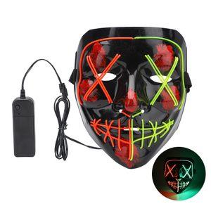 LED Grusel Maske - Halloween Horror Verkleidung Gesichtsmaske, mit 4 versch Modi