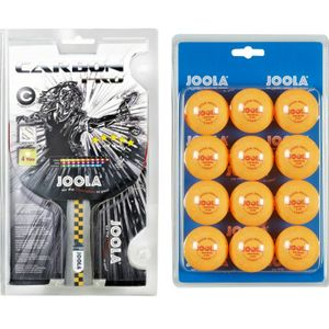 JOOLA Tischtennis Set | Carbon PRO Tischtennisschläger + 12 x Tischtennisbälle